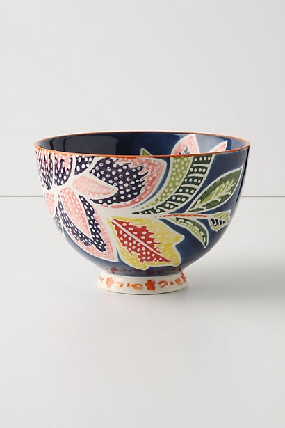 Flame Leaf Bowl in Navy (also available in various colors. Anthropologie