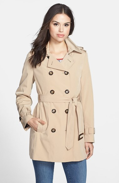 Calvin Klein Double Breasted Trench Coat (Online Only) in Khaki