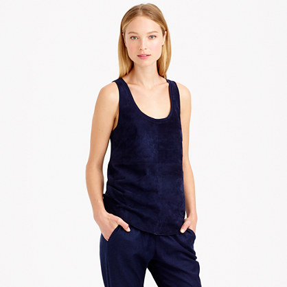 J.Crew COLLECTION SUEDE-FRONT TANK item b0461 in Navy Blue