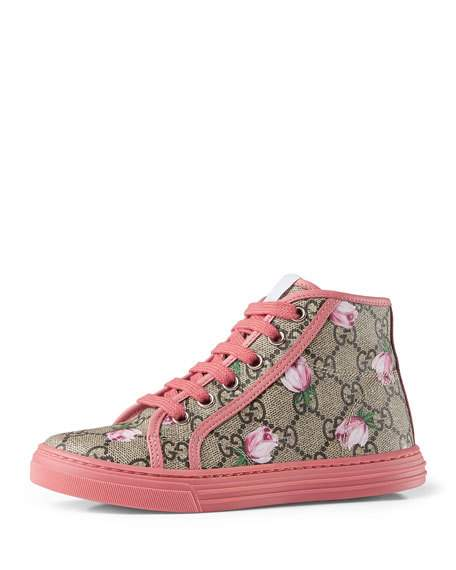 Gucci California GG Supreme Printed High-Top Sneaker, Pink, Youth Rose Print back to school shoes for little girls candace rose neiman marcus