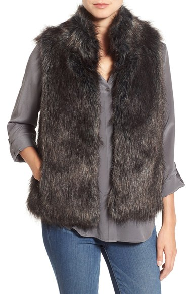 BB Dakota 'Colton' Faux Fur Vest Black faux fur vests fall 2016