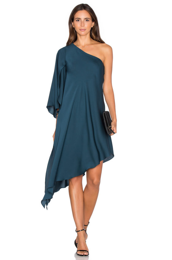 MILLY Tori One Shoulder Dress Peacock one shoulder dresses fall wedding guest