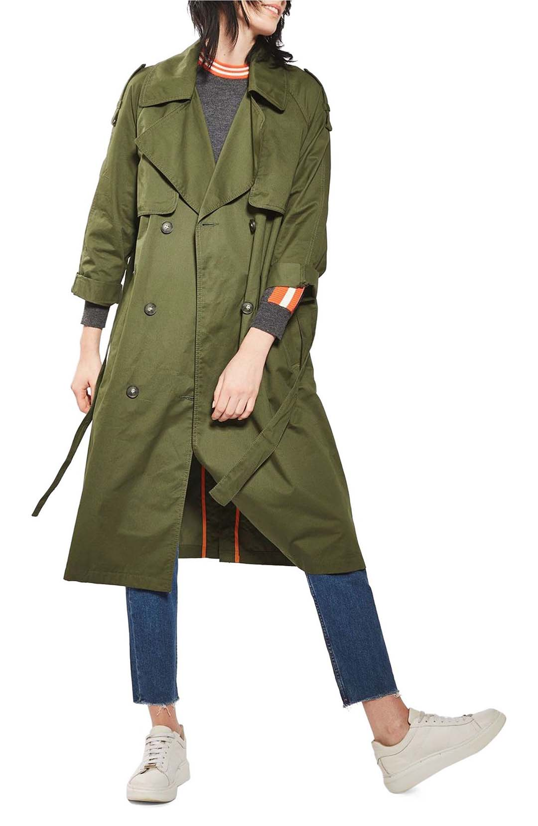 Topshop Embroidered Trench Coat Olive Multi trench coats top spring