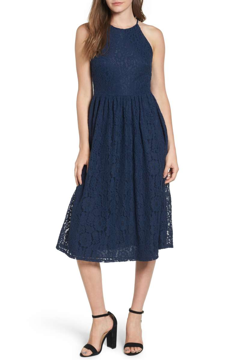 SOPRANO High Neck Lace Midi Dress Navy Blue nordstrom lace a-line dresses wedding guests