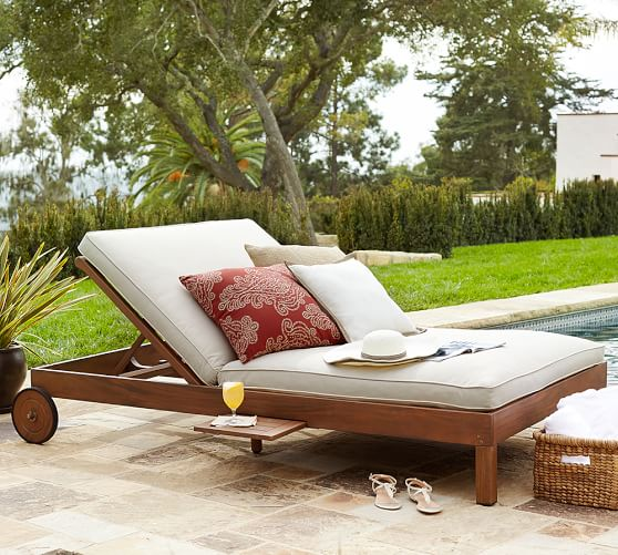 Pottery Barn CHATHAM DOUBLE CHAISE, HONEY pottery barn outdoor furniture sale