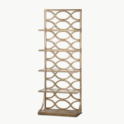 Uttermost Lashaya Etagere in Gold Gold Bookcase Metal