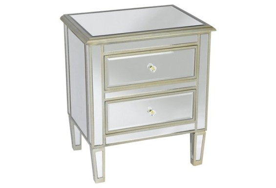 Remy Two Drawer Mirrored Nightstand Silver