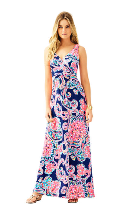 Lilly Pulitzer SLOANE V-NECK MAXI DRESS Bright Navy Pop Up For The Halibut maxi dresses for the kentucky derby 2016 style