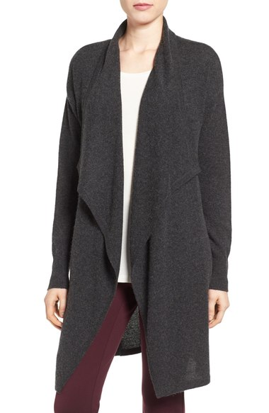Halogen Cashmere Long Drape Front Cardigan (Regular & Petite) Heather Charcoal Nordstrom anniversary sale women's sweaters cardigans