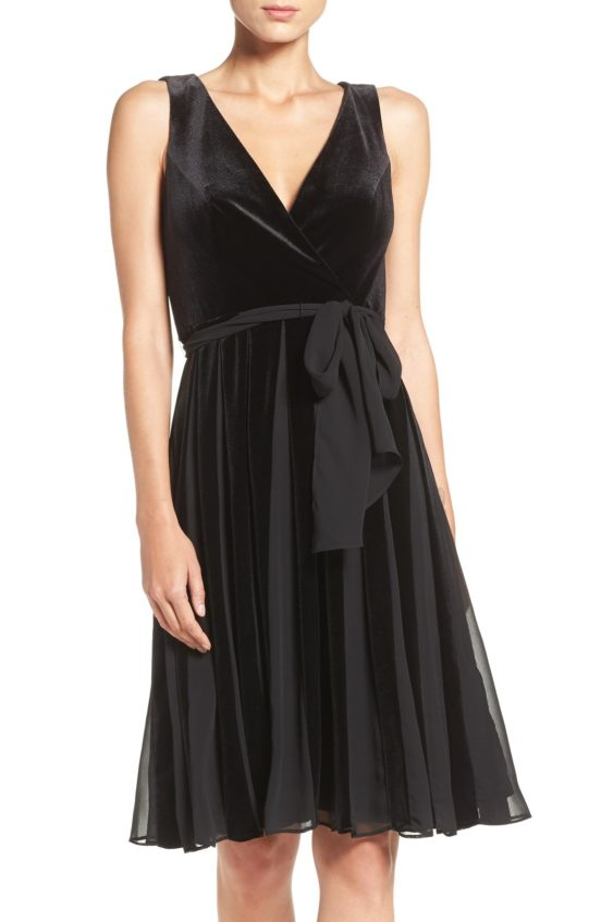 Adrianna Papell Velvet Fit & Flare Dress Black fit and flare dresses fall wedding guest season