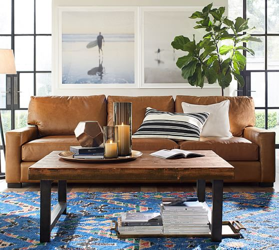 Pottery Barn TURNER SQUARE ARM LEATHER SOFA pottery barn leather furniture sale : pottery barn sectional sofa sale - Sectionals, Sofas & Couches
