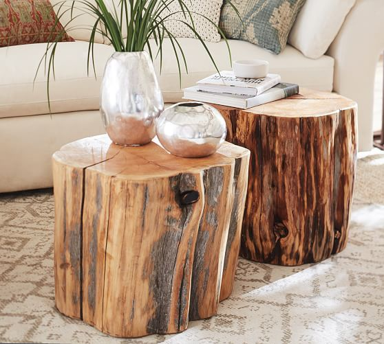 Pottery Barn RECLAIMED WOOD STUMP TABLE pottery barn extra 20% furniture clearance sale