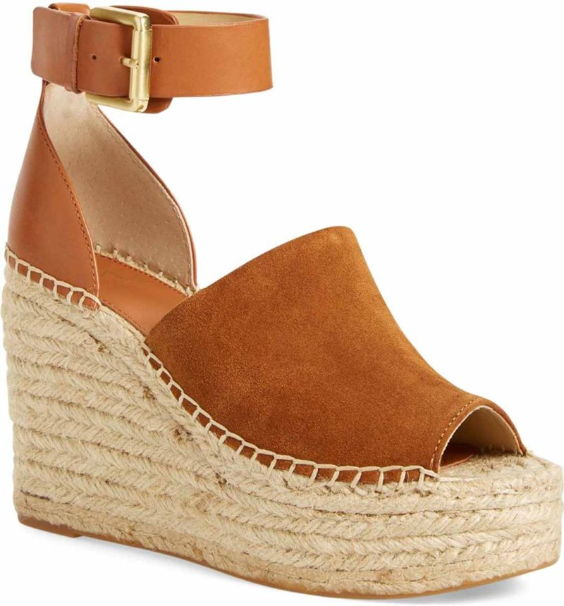 MARC FISHER LTD 'Adalyn' Espadrille Wedge Sandal Tan Saddle platform espadrille wedge sandals spring 2017