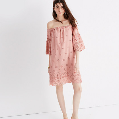 Madewell eyelet off-the-shoulder dress item g3057 dusty clay madewell sale