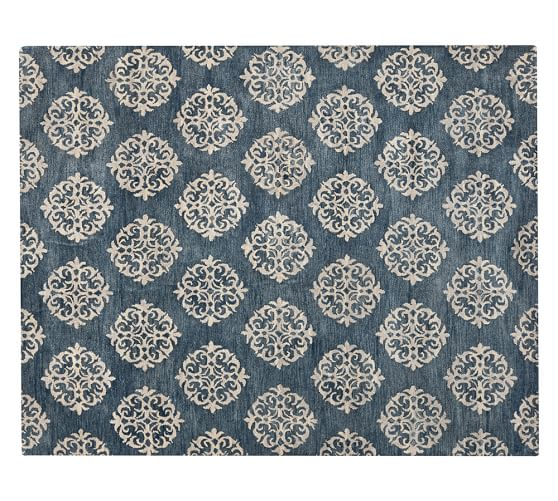 Pottery Barn EMPIRE SCROLL RUG - INDIGO pottery barn buy more save more sale