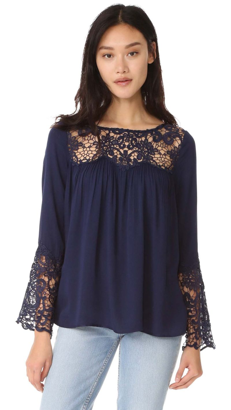 BB Dakota Geraldine Lace Blouse Navy Ivory Shopbop memorial day sale