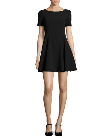 Halston Heritage Short-Sleeve Wide Crewneck Fit-&-Flare Dress Black fit and flare dresses spring summer 2017