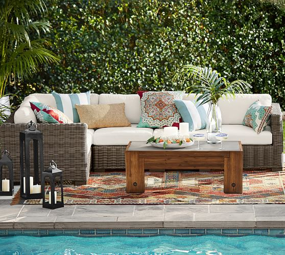 Pottery Barn HUNTINGTON ALL-WEATHER WICKER SQUARE-ARM SECTIONAL SET pottery barn outdoor furniture sale 60 percent off
