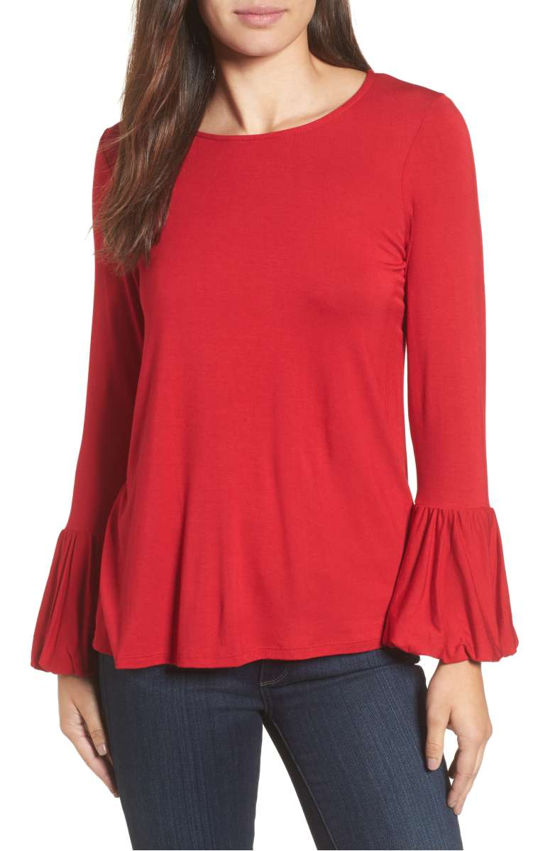 Bobeau Bell Sleeve Top Red