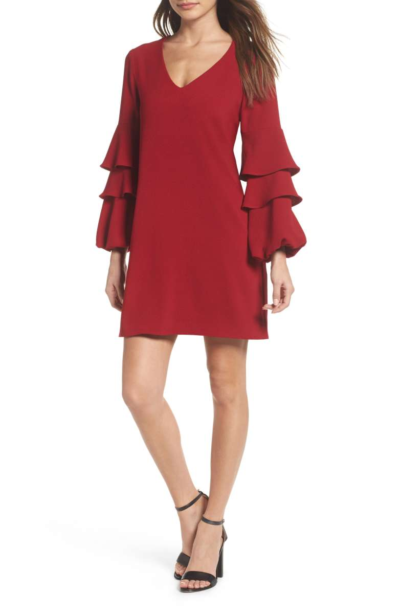 CHARLES HENRY Tiered Ruffle Sleeve Dress Garnet ruffle sheath dresses fall wedding guests