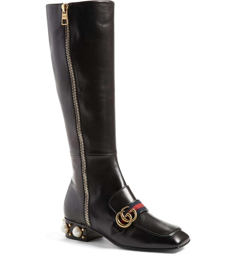 GUCCI 'Peyton' Embellished Riding Boot Black