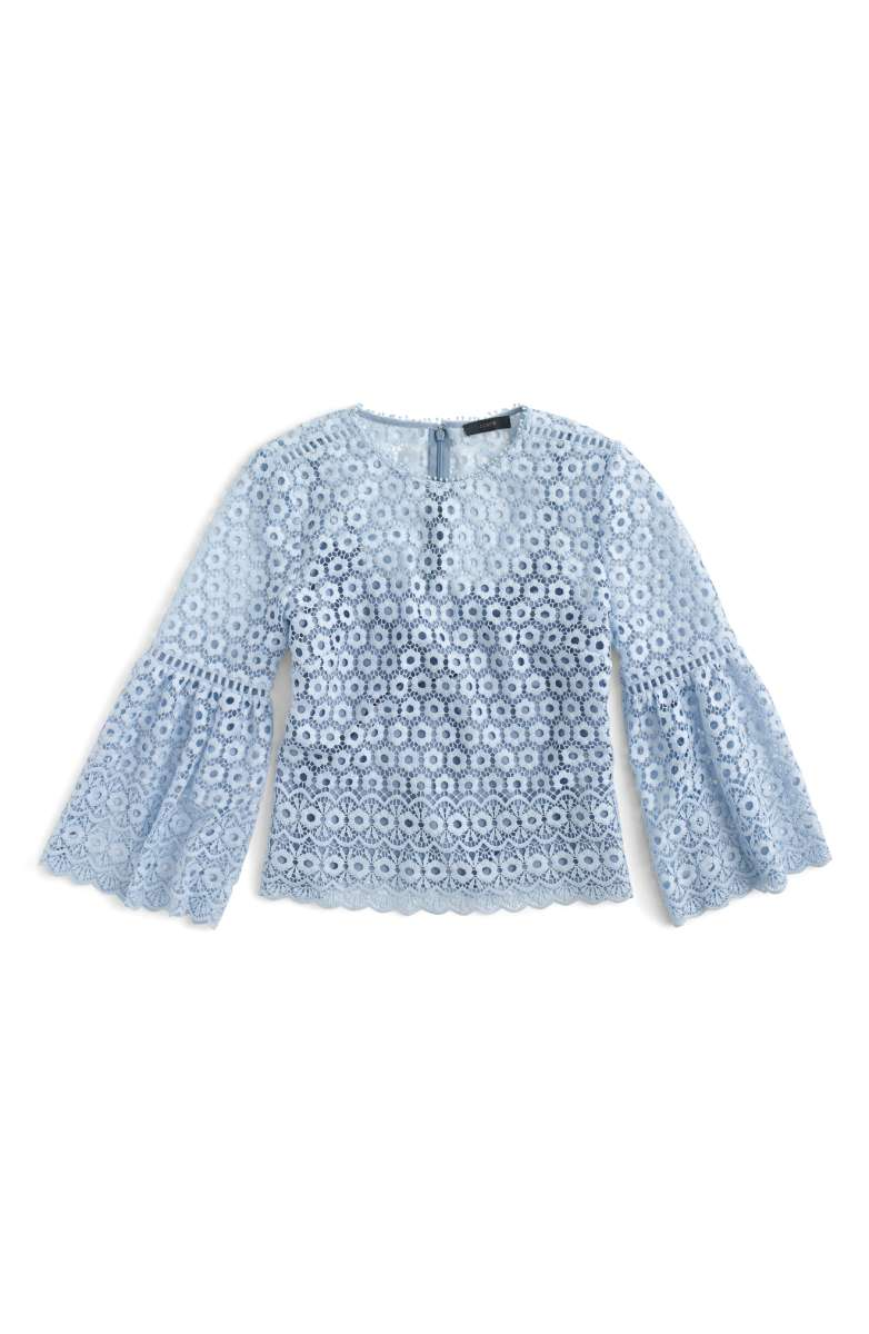 J.Crew Bell Sleeve Daisy Lace Top Faded Periwinkle bell sleeve tops fall 2017