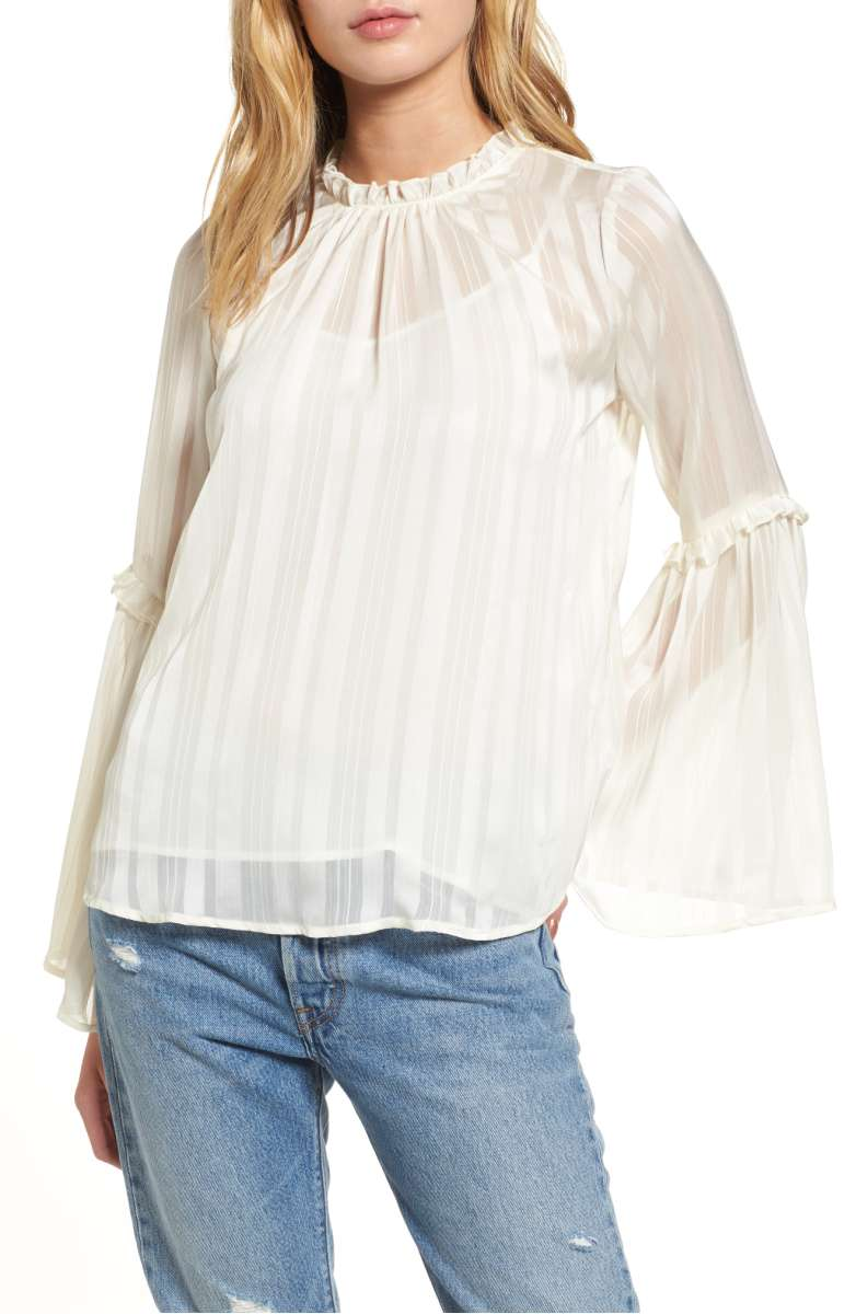 LUSH Shadow Stripe Blouse Ivory bell sleeve tops fall 2017