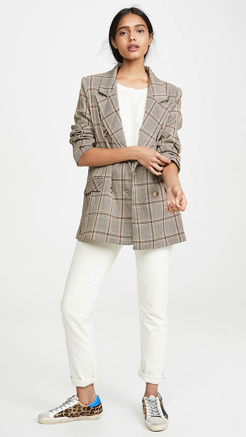 Lioness The Don Jacket Beige Check plaid jackets women