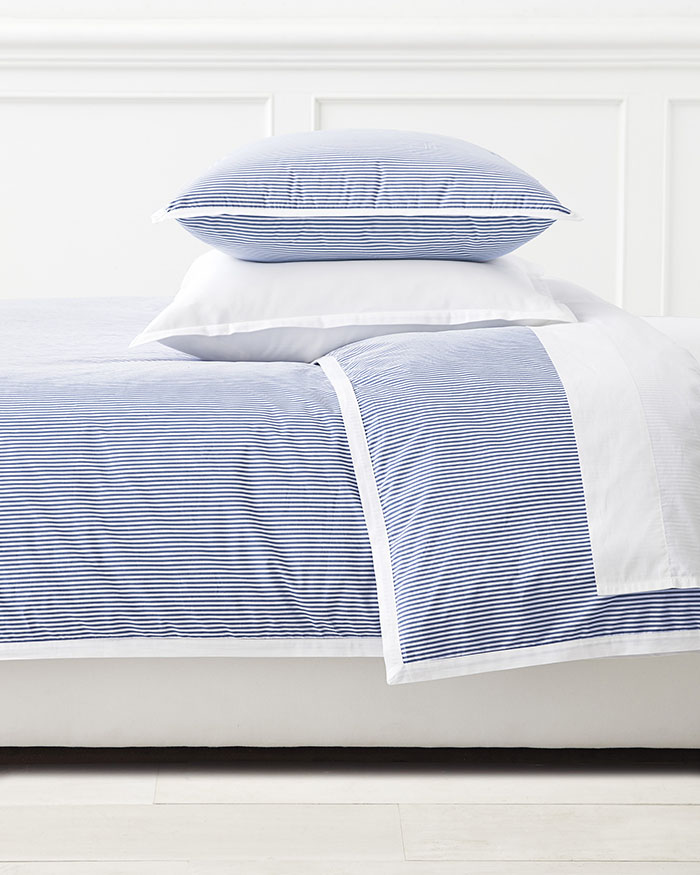 Serena And Lily Oxford Stripe Duvet Cover Blue and white bedding
