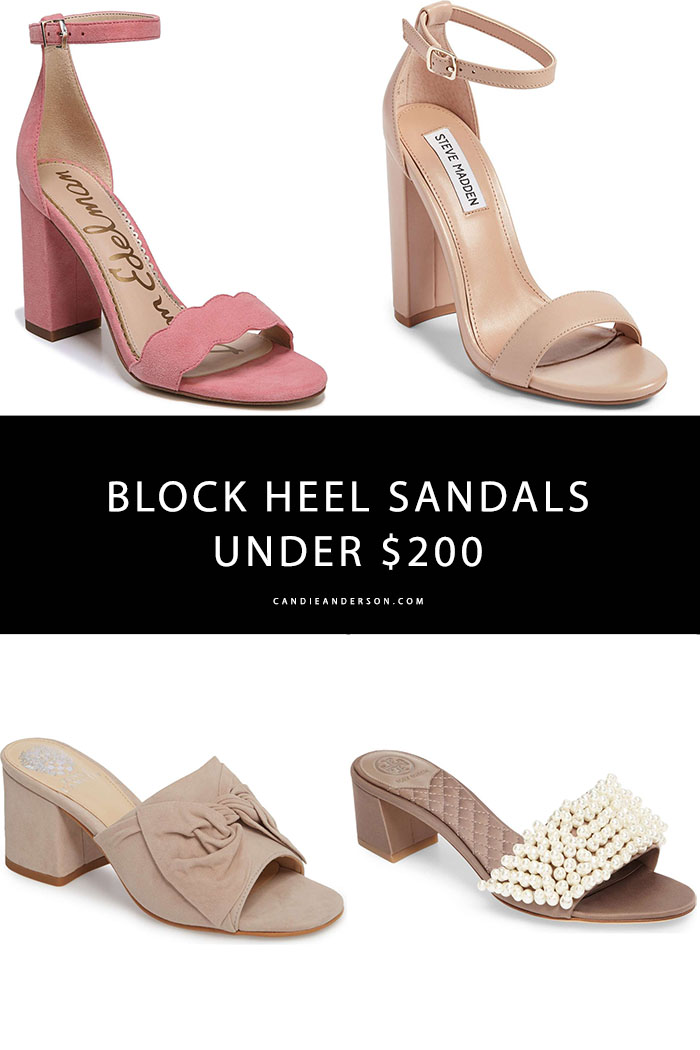 Block heel sandals are one of the most popular shoe trends for spring and summer 2018! They're perfect for wedding guest season, church, the office, date night and more. Style expert and blogger, Candie Anderson has the scoop on 21 of the best block heel sandals under $200.