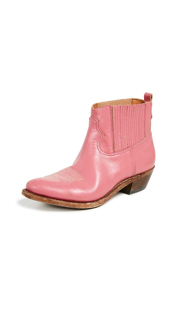 Golden Goose Crosby Boots Pink western inspired ankle boots fall