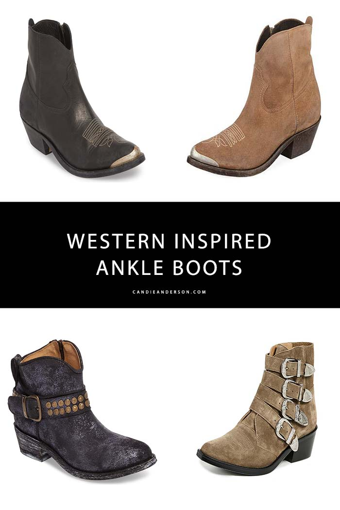 Western inspired ankle boots are a hot fashion trend for fall. Style expert and fashion blogger, Candie Anderson has the scoop on 15 of the best Western boots and cowboy boots for fall.
