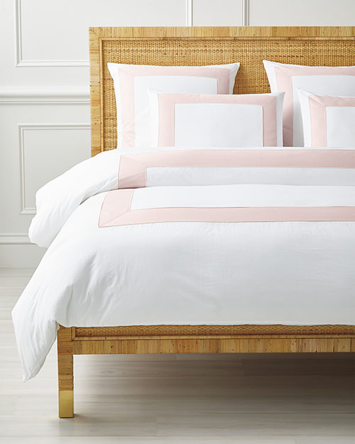 Serena and Lily Beach Club Border Duvet Cover White Pink Sand blush pink bedding