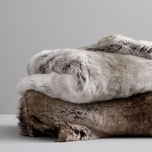 West Elm Faux Fur Ombre Throws Feather Grey faux fur throw blankets fall winter holiday gifts