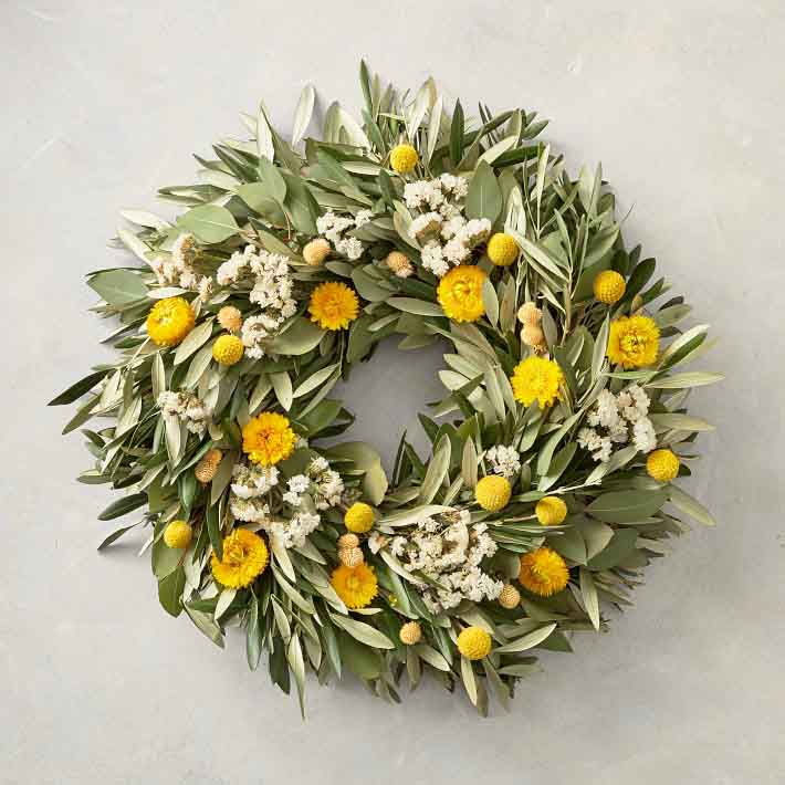 Williams-Sonoma Olive Billy Button Wreath summer wreaths