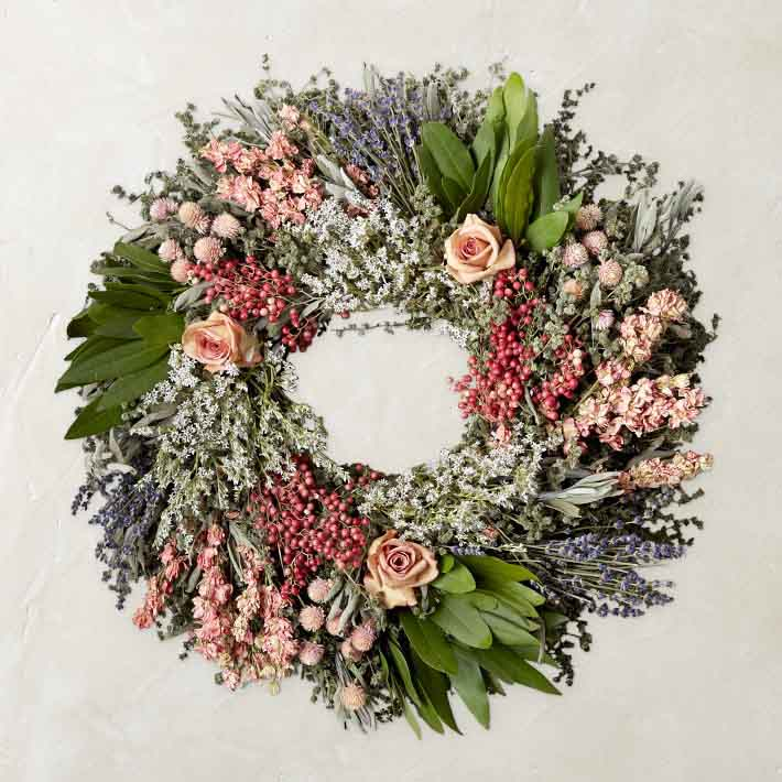 Williams-Sonoma Pink Rose Garden Wreath summer wreaths