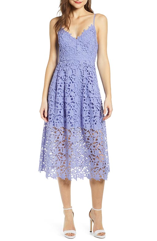 ASTR THE LABEL Lace Midi Dress Lavender barn wedding guest dresses