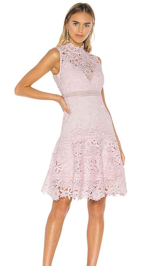 Bardot Elise Lace Dress Washed Pink best barn wedding guest dresses high neck