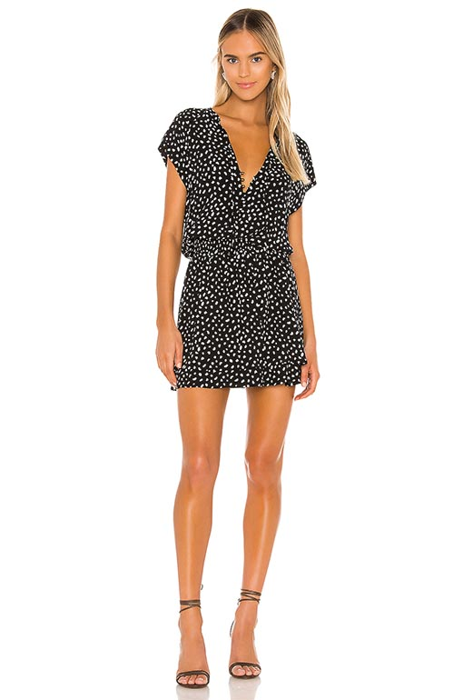 mRails Karla Mini Dress Black Ivory Spots barn wedding guest dresses summer 2020