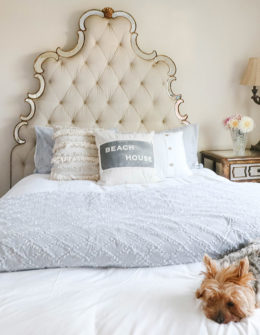 Lifestyle expert Candie Anderson shares her beautiful coastal inspired bedroom makeover on a budget! Learn how she was able to create this space under $150 with Walmart. Her dog Francesca loves it.