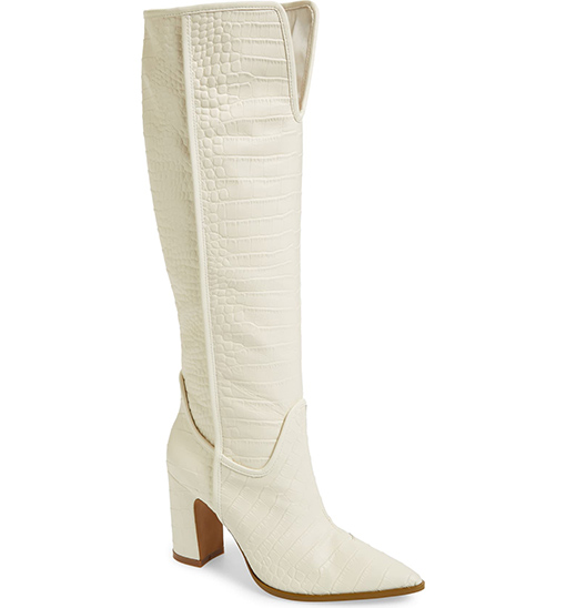 CECELIA NEW YORK Reckon Croc Embossed Knee High Boot Alabaster Leather white boots