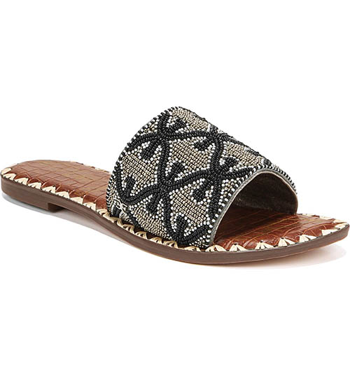 Sam Edelman Gunner Slide Sandal Pewter Fabric flat slide sandals women