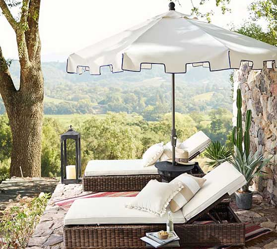 Pottery Barn 9' Round Capri Outdoor Umbrella – Sunbrella® Natural with Navy Piping patio umbrellas