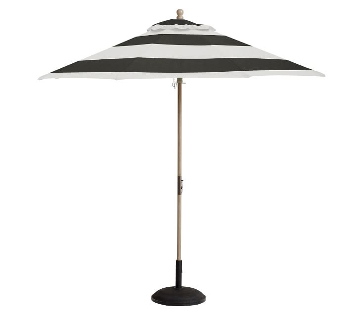 Pottery Barn 9' Round Outdoor Umbrella – FSC® Eucalyptus Frame​ Sunbrella Stripe Black White patio umbrellas