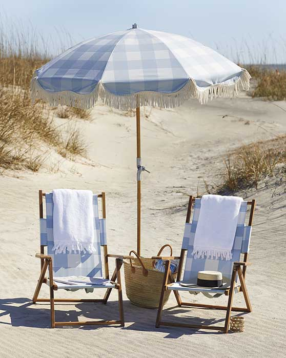 Serena and Lily Beach Umbrella Gingham Coastal Blue patio umbrellas tassel