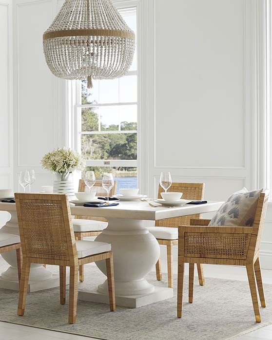 Serena and Lily Ventura Chandelier white gold beads hemp style coastal inspired lighting decor home