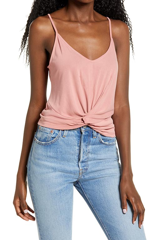 All In Favor Twist Hem Crop Tank Old Rose Pink casual summer tops women