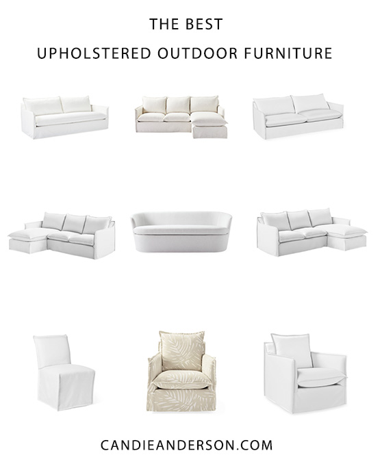Lifestyle expert, journalist and interior design blogger Candie Anderson of candieanderson.com has the scoop on 20 of the best upholstered outdoor furniture essentials for your front porch or back patio! You'll love the gorgeous all-weather upholstered sofas, chairs and sectionals in a variety of fabrics, colors, patterns and prints.