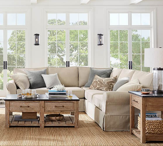 Pottery Barn PB Comfort Roll Arm Slipcovered 3-Piece L-Sectional neutral slipcovered sectionals sale