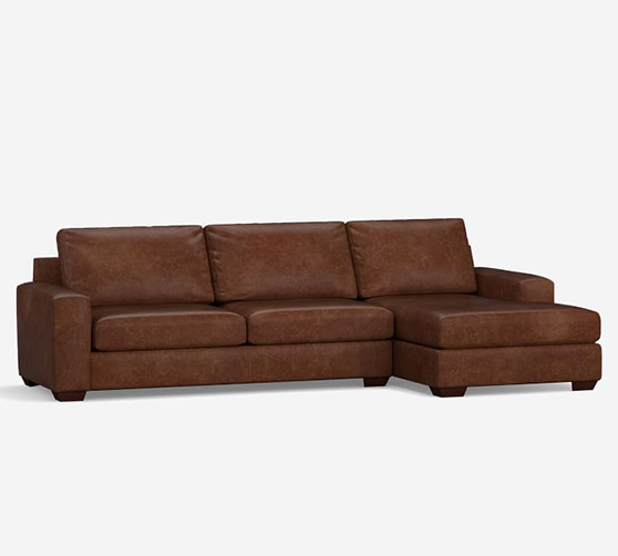 Pottery Barn Big Sur Square Arm Leather Sofa Chaise Sectional modern leather sectionals